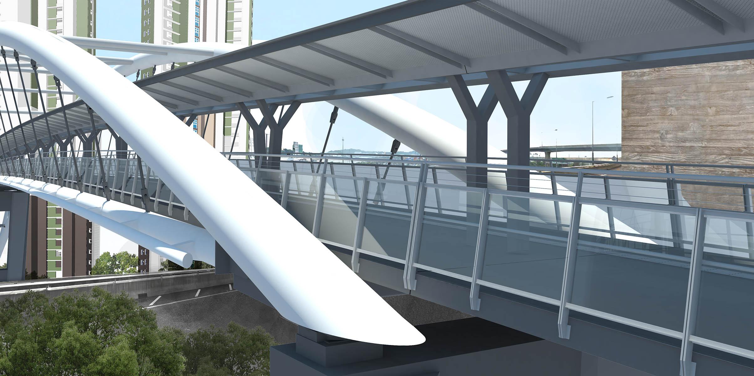 西北九龍填海區第六號地盤跨西九龍公路行人天橋